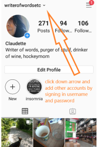 Switch between accounts in instragram